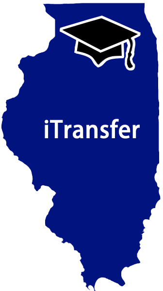 iTransfer.org Logo - blue state of Illinois with a graduation cap